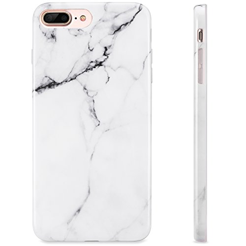 KINFUTON Compatible iPhone 7 Plus Case,iPhone 8 Plus Case,White Marble Women Girls Men Soft Silicon Rubber Clear Bumper Glossy TPU Slim Fit Cute Protective Phone Case for iPhone 7 Plus iPhone 8 Plus