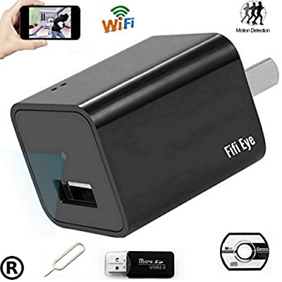 Wifi wireless P2P 1080P HD Wall Charger Hidden Mini Nanny Spy Camera, Motion Detection Activated ,Support IOS iPhone and Android APP For Remote Control and Live View.For Home Security.By FIFI EYE