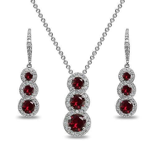 Sterling Silver Created Ruby Journey Halo 3-Stone Pendant Necklace & Leverback Earrings Set for Women