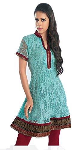 Jayayamala dames tunique cyan concepteur de blouse brodée
