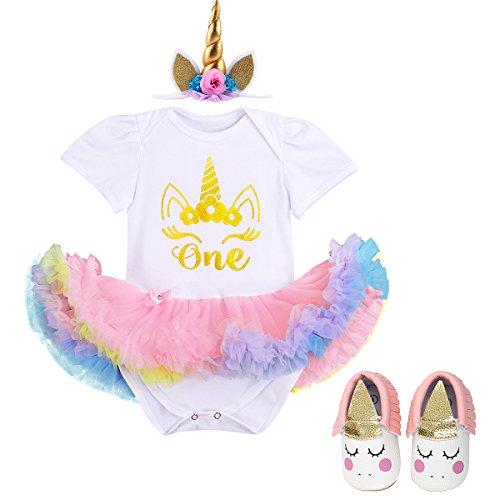 IBTOM CASTLE 3PCS Baby Girl Newborn 1st Birthday Tutu Onesie Outfit Princess Dress 3pcs Gold Dress+Pink Shoes 6-12 Months