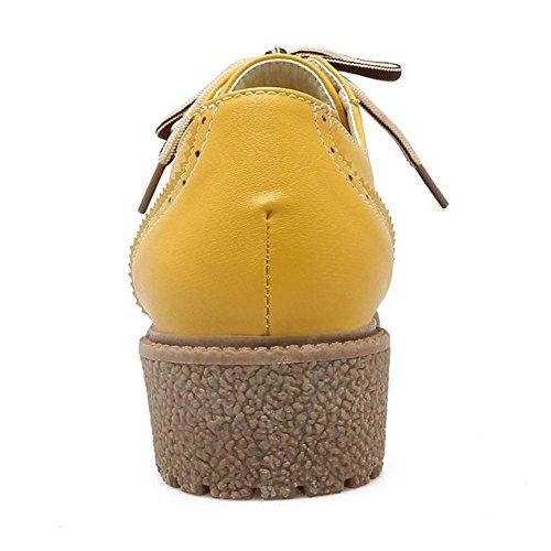 Coolcept Zapatos Atados de Tacon Ancho Botines Oxfords para Mujer Yellow