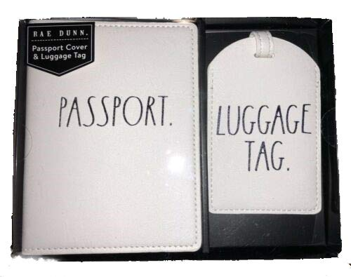 Rae Dunn Passport Holder and Luggage Tag Boxed Gift Set (Passtport Luggage) by Rae Dunn