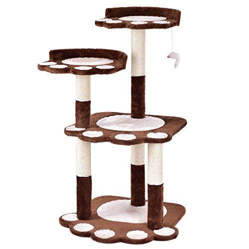 e Cat Tower Scratching Posts Kitten Activity Tower Condo Pet Furniture (Brown) ()