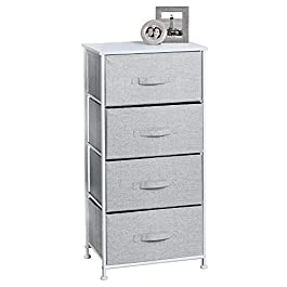 mDesign Vertical Furniture Storage Tower – Sturdy Steel Frame, Wood Top, Easy Pull Fabric Bins – Organizer Unit for Bedroom, Hallway, Entryway, Closets – 4 Drawers