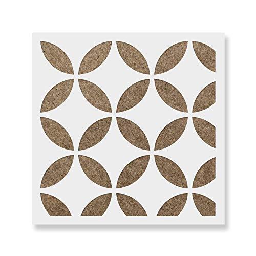 Japanese Tile Stencil - Laser-Cut Reusable Floor Stencil & Backsplash Tile Stencils for Home Decor, Furniture, and Walls - 8