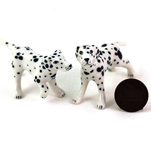 Dog Dalmatian Figurine (2 Dalmatian Dogs Puppy Miniature Animal Statue Pottery Figurine Ceramic)