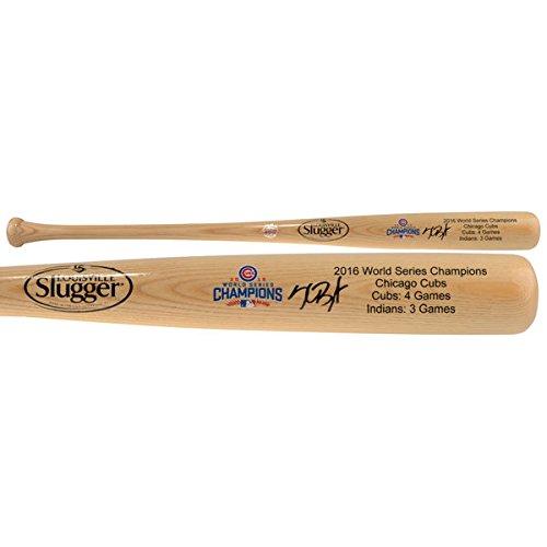 (KRIS BRYANT Chicago Cubs 2016 MLB World Series Champions Autographed Louisville Slugger Blonde Champions Bat FANATICS)