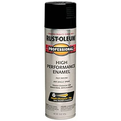 Rust-Oleum 7579838 Professional High Performance Enamel Spray Paint, 15 oz,  Gloss Black