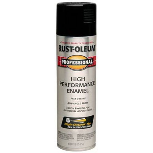 Rust-Oleum 7579838 Professional High Performance Enamel Spray Paint, 15 oz, Gloss Black (Automotive Acrylic Paint Black)