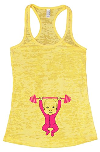 "Women's Early Pregnancy Tank Top ""Baby Working Out"" Maternity Shirt - Funny Threadz Large, (Early Maternity Clothes)"