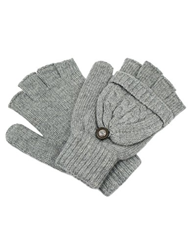Dahlia Women's Winter Wool Flip Top Gloves - Cable Knit - Gray