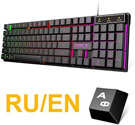 Amazon Com Sdcm Imice Gaming Keyboard Imitation Mechanical Keyboard With Backlight Russian Gamer Keyboard Wired Usb Game Keyboards For Computer Color Russian Layout Computers Accessories