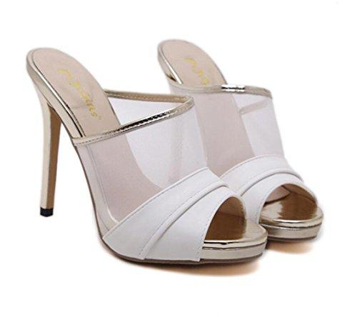 Heels Súper Womens Platform Sandals White Altos Hueco Stiletto Transpirable Black Summer Linyi Tacones Partido 1vx5wqT