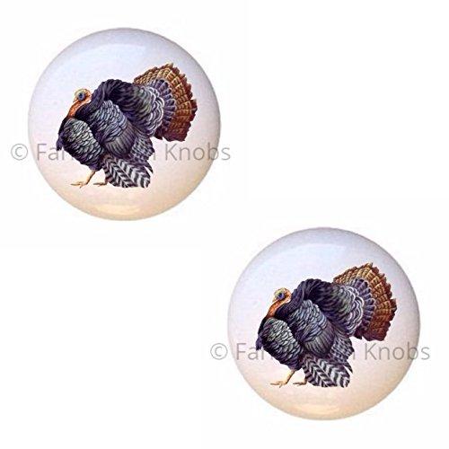 (SET OF 2 KNOBS - Turkey - Turkeys - DECORATIVE Glossy CERAMIC Cupboard Cabinet PULLS Dresser Drawer KNOBS)