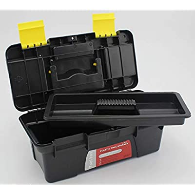 10-Inch Plastic Small Tool Box, Craft Storage Car Tool Boxes with Removable Tray/Handle and Latches