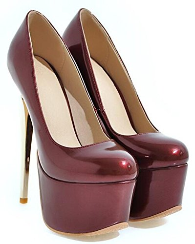 Slip IDIFU On Spikes Wine Heels Sexy Womens Low Stiletto Red Shoes Pumps High Top Platform 0wT0rFq