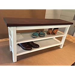 "Hallway / Mud Room / Foyer Bench With Two Shoe Shelves In Your Choice Of Color And Size 24"" To 46"""