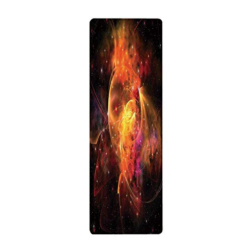 iPrint Yoga Towel, 100% Microfiber Yoga Mat Towel,Space Decorations,Outer Space Nebula Forming Star Cluster and Galaxy Cosmos Astronomy Universe,Black Orange Red,for Hot Yoga, Pilates and Fitness by iPrint