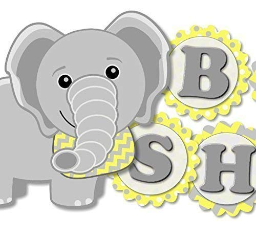 Personalised Baby Shower Stickers Labels Party Bags Favours Yellow Elephant x 24