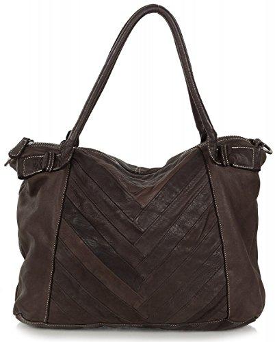 FREDsBRUDER Visitor Shopper Tasche Schultertasche aus weichem Vintage Leder (39 x 31 x 10 cm), Farben:Braun (Dark Chocolate)