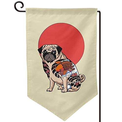 (VenGF Tattoo Pug Ruffian Family Home Welcome Flag Garden Ornaments Festival Game Outdoor Yard Colours Decorative Banner 12.518