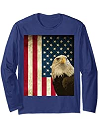 American Bald Eagle Retro Flag Long Sleeve Shirt, Patriotic