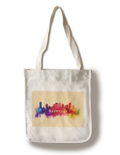 Tn Framed Nashville (Lantern Press Nashville, Tennessee - Skyline Abstract (100% Cotton Tote Bag - Reusable))