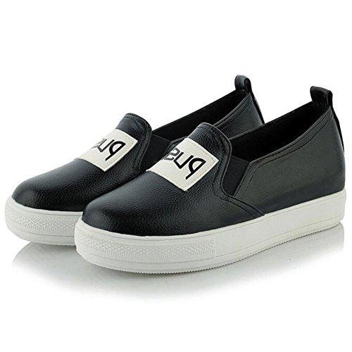 Summerwhisper Kvinna Trendiga Elastiska Låg Topp Platta Loafers Glida På Plattforms Sneakers Svart