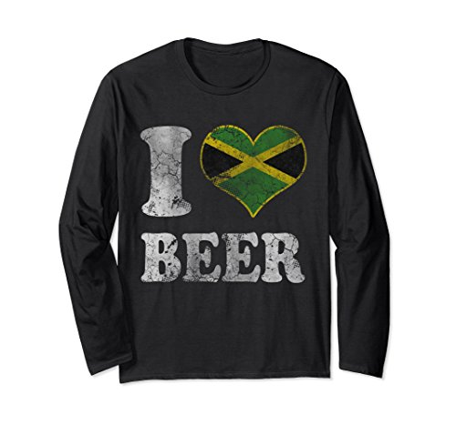 Unisex I Heart Jamaican Beer Jamaica Flag Long Sleeve Shirt Medium Black Jamaican Flag Heart