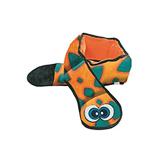 Outward Hound Invincibles Orange Snake Dog Toy - Stuffingless, Tough and Durable Squeakers, XL