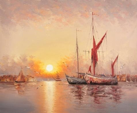 Oil Painting 'Sunset Seascape With Sailing Ships And Sea Gulls' 24 x 29 inch / 61 x 73 cm , on High Definition HD canvas prints is for Gifts And Bath Room, Kitchen And Living Room Decoration