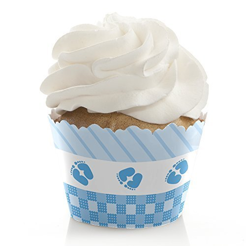 Baby Feet Blue - Baby Shower Decorations - Party Cupcake Wrappers - Set of 12 -