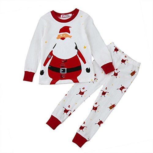 2017 Christmas Toddler Boy Girls Pajamas Outfit Kids Cute Cartoon Santa Claus Shirt+Pants Clothes Set (2T, Red) -