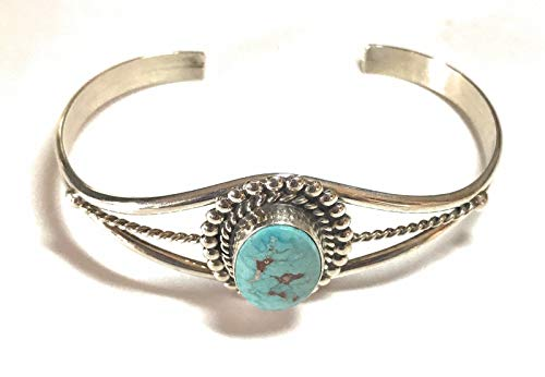Sterling Silver and Blue Ridge Bracelet By Artist Dave Skeets Navajo from Nizhoni Traders LLC