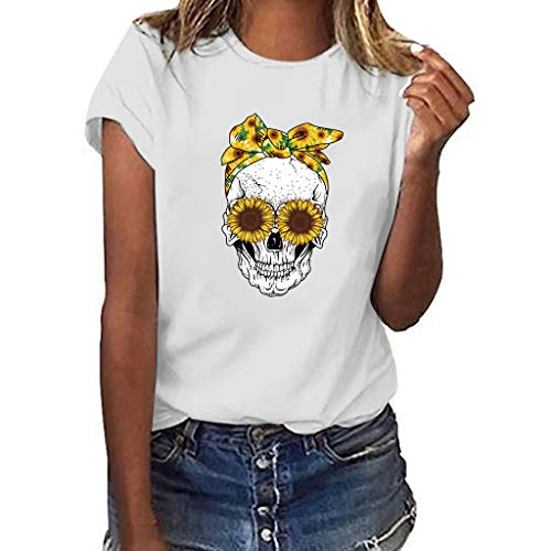 ♡Londony♡ Women's Short Sleeve Letter Printed Tee Tops Casual T-Shirt Summer Street Printed Tops Funny Juniors Tees