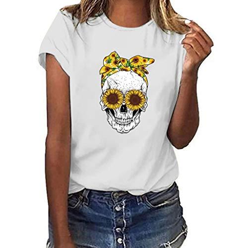 Women Skull Print Short Sleeve Tops Multicolor Loose T Shirt Blouse