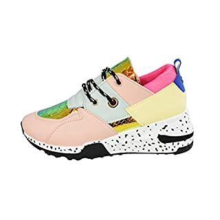 LUCKY-STEP Women Breathable Mesh Fashion Leopard Sneakers Non-Slip Leather Lace Up Print Casual Athletic Walking Shoes