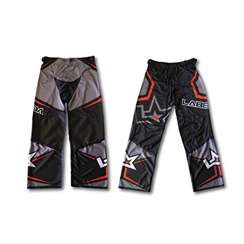 Line Pants In Hockey (LABEDA Roller Hockey Inline PANTS PAMA 7.1 BLACK/CHARCOAL/RED Size M)