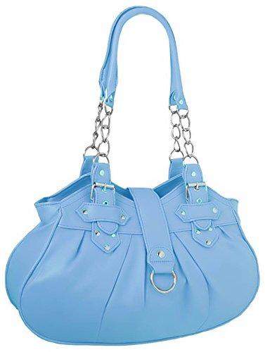 EyeCatchBags - Huron Faux Leather Womens Shoulder Bag Handbag Black Sky Blue