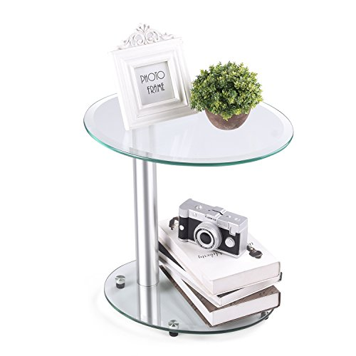 Rfiver Oval Coffee Table Small Side Table End Table, Save Space Corner Table for Bedroom&Living Room, Clear Tempered Glass ET3001 -