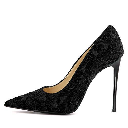 Shoes Desideria Noir Velours Escarpins Imprimé Femme Evita dfTwqd