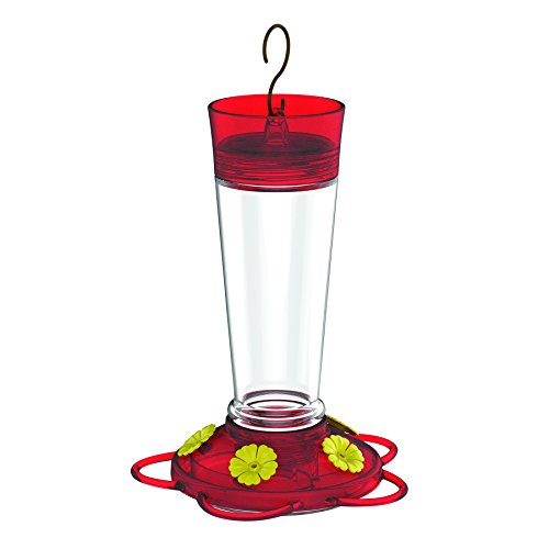 More Birds Hummingbird Feeder with 5 Feeding Stations, Ruby Glass Hummingbird Feeder, 10-Ounce Hummingbird Nectar Capacity