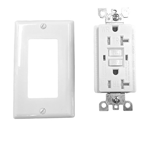20 Amp Tamper Weather Resistant WTR GFCI LED outlet w/Wallplate UL2015 (Pack of 10) by Fitting Stores (Image #1)