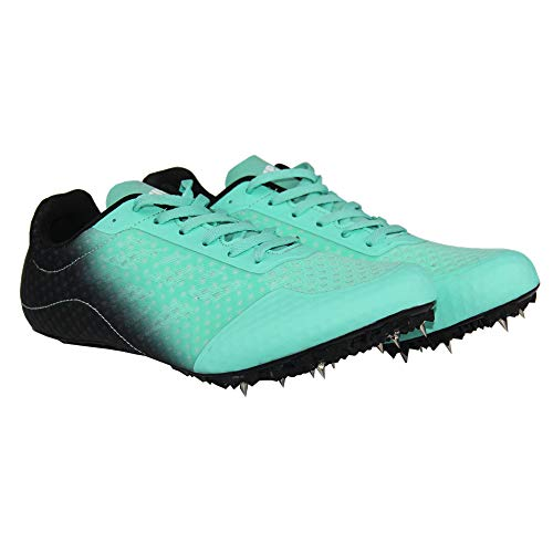 Supfreedom Track Spikes Breathable Mesh Track Shoes for Athletics Racing Distance PU Sprint Running Race Spike Shoes (7 US, Green)