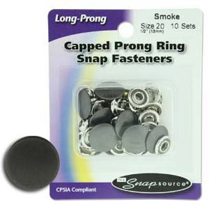 Snap Size 20 Fasteners, Capped Prong Smoke Color - 10 Sets