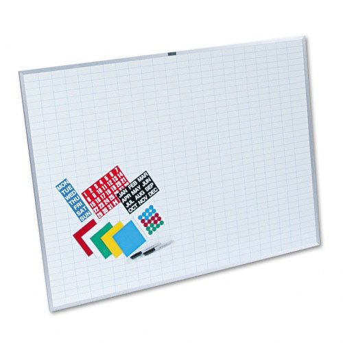 Magna Visual Whiteboard With 1''X2'' Grid & Magnetic Strip Planning Kit, White, 48 x 36 by Magna Visual