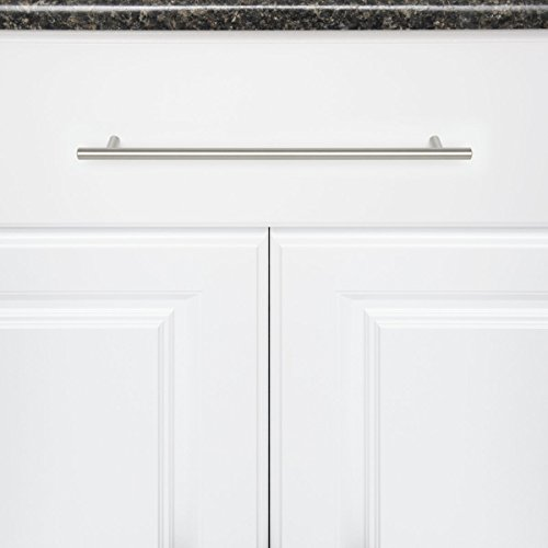 AmazonBasics Euro Bar Cabinet Handle (1/2'' Diameter), 15'' Length (12.63'' Hole Center), Satin Nickel, 10-Pack by AmazonBasics (Image #1)