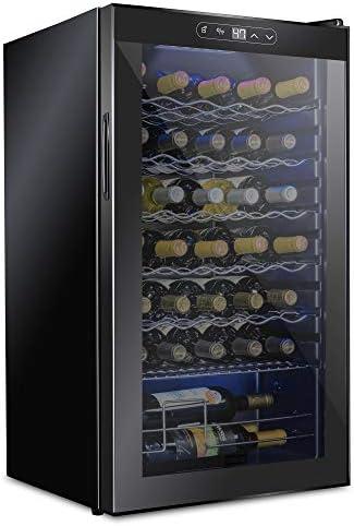 Schmecke 34 Bottle Compressor Wine Cooler Refrigerator w/Lock | Large Freestanding Wine Cellar | 41f-64f Digital Temperature Control Wine Fridge For Red, White, Champagne or Sparkling Wine - Black