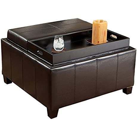 Mansfield Leather Espresso Tray Top Storage Ottoman Two Flip Over Lids As Serving Trays
